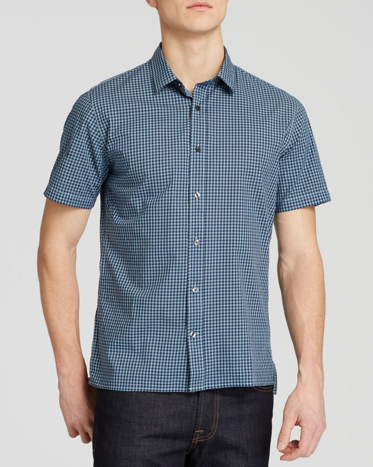 Vince Gingham Check Short Sleeve Button Down Shirt In Blue