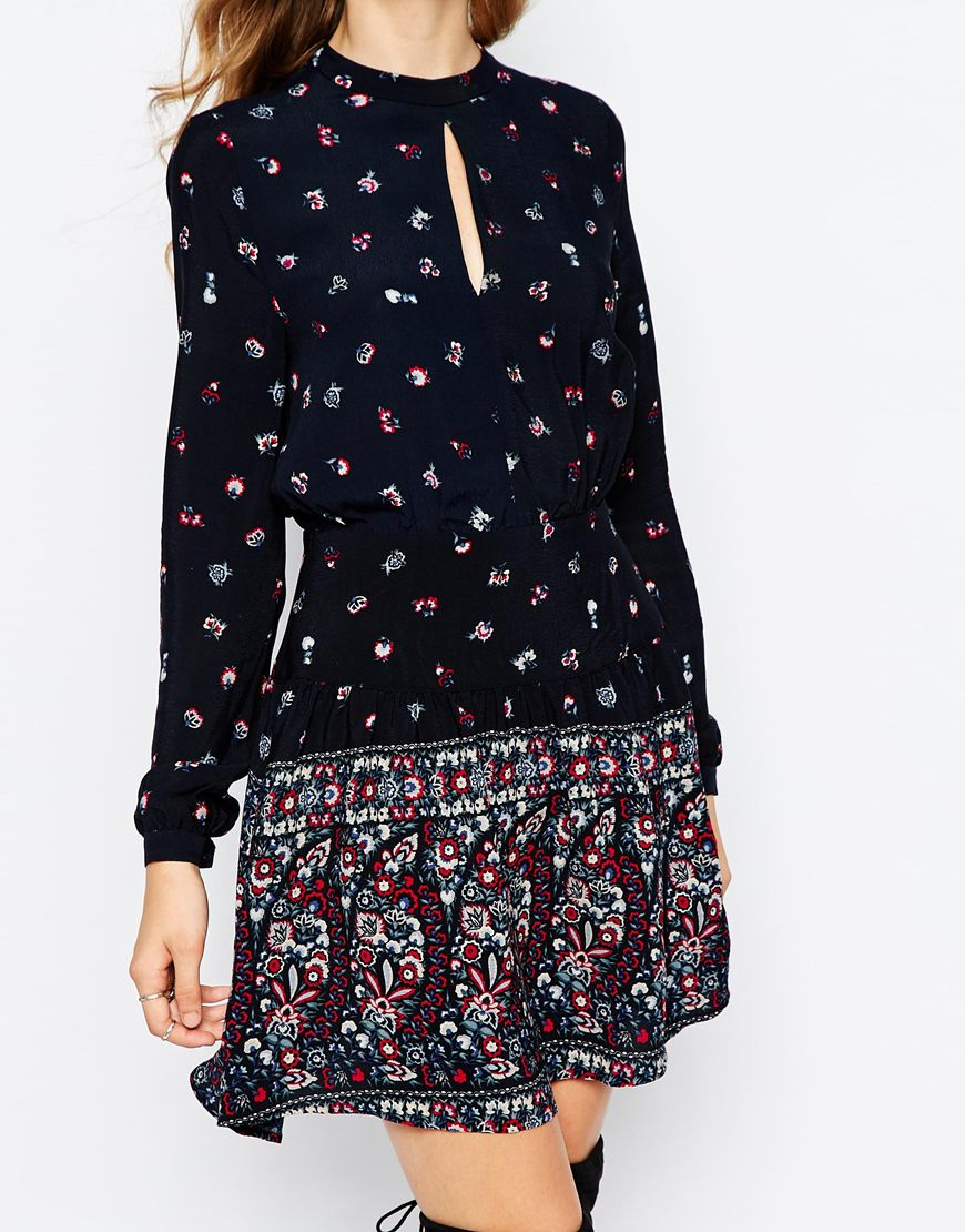 Lyst Pepe Jeans Boho Dress With Print In Blue