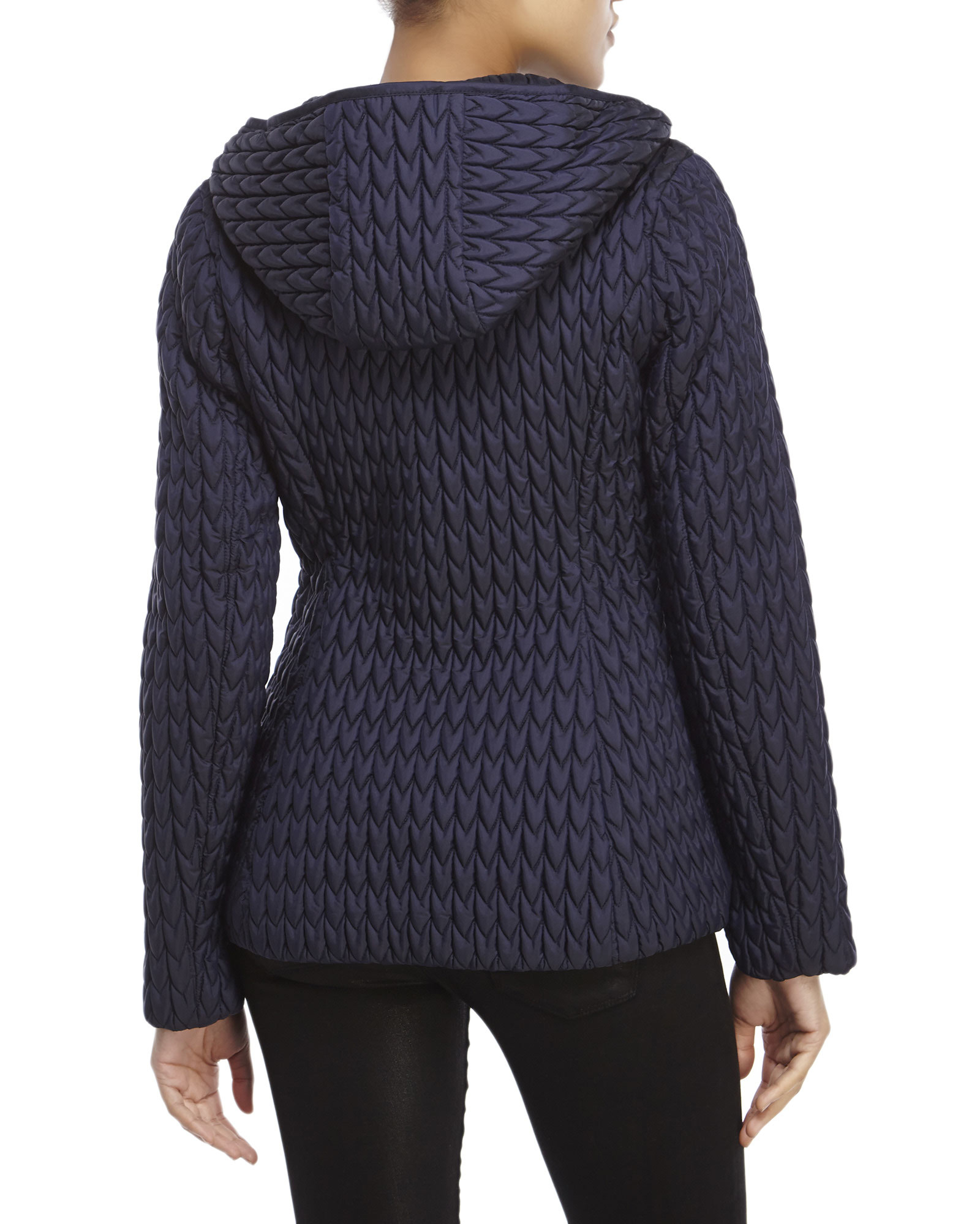 Anne Klein Navy Popcorn Quilted Hooded Jacket In Blue Lyst
