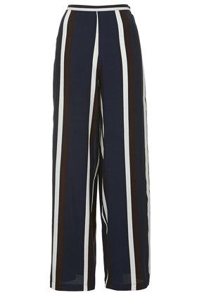 a592b95322 TOPSHOP Navy Stripe Wide Leg Trousers in Blue - Lyst