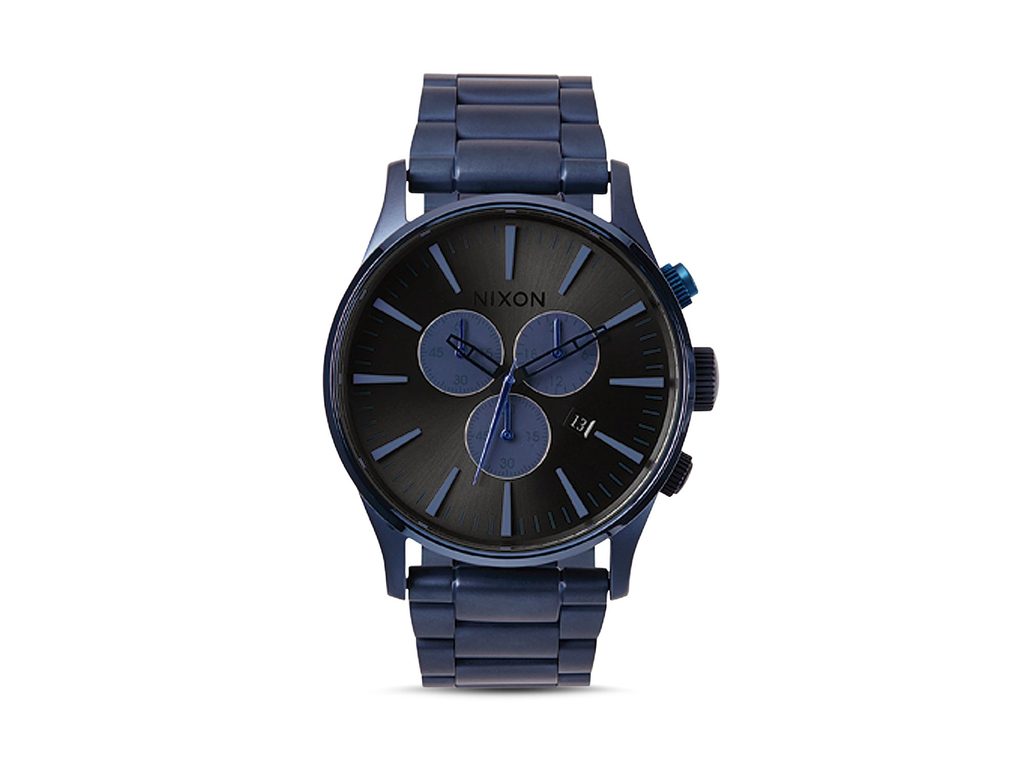 Nixon Sentry Chronograph Deep Blue Watch 42mm In Black For Men Lyst