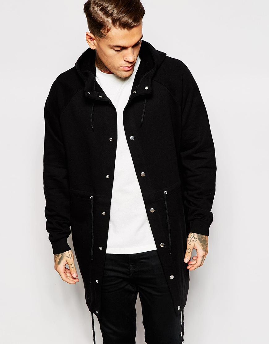 Asos Oversized Parka Jacket In Jersey in Black for Men | Lyst
