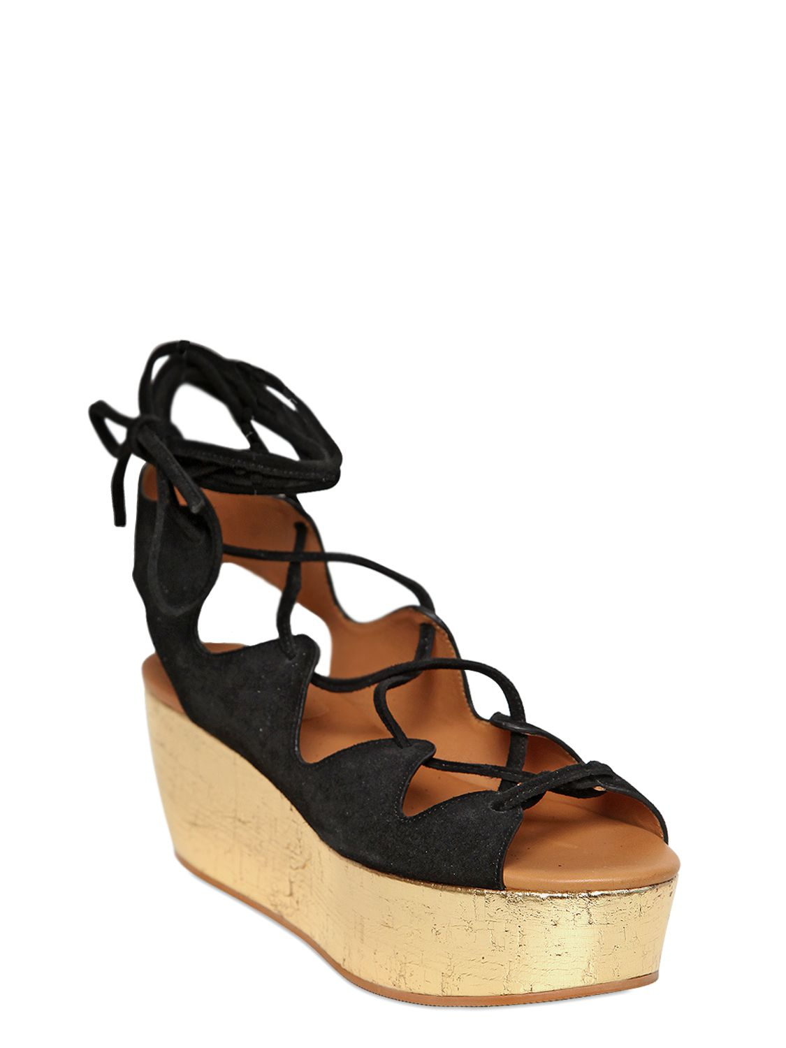 Lyst See By Chlo 233 70mm Suede Lace Up Wedge Sandals In