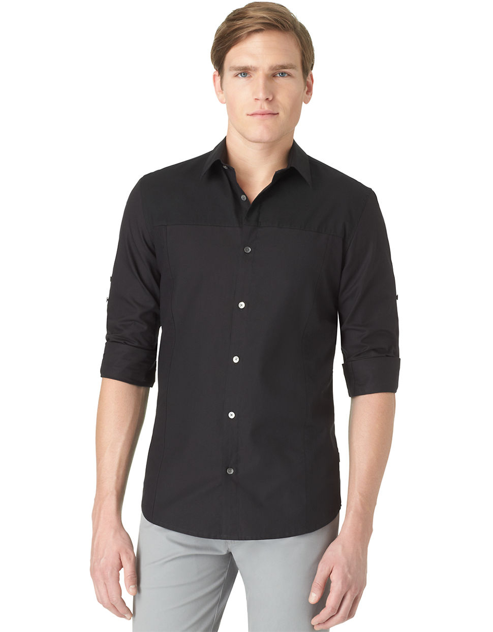calvin klein slim fit mixed media dobby sport shirt in black for men. Black Bedroom Furniture Sets. Home Design Ideas
