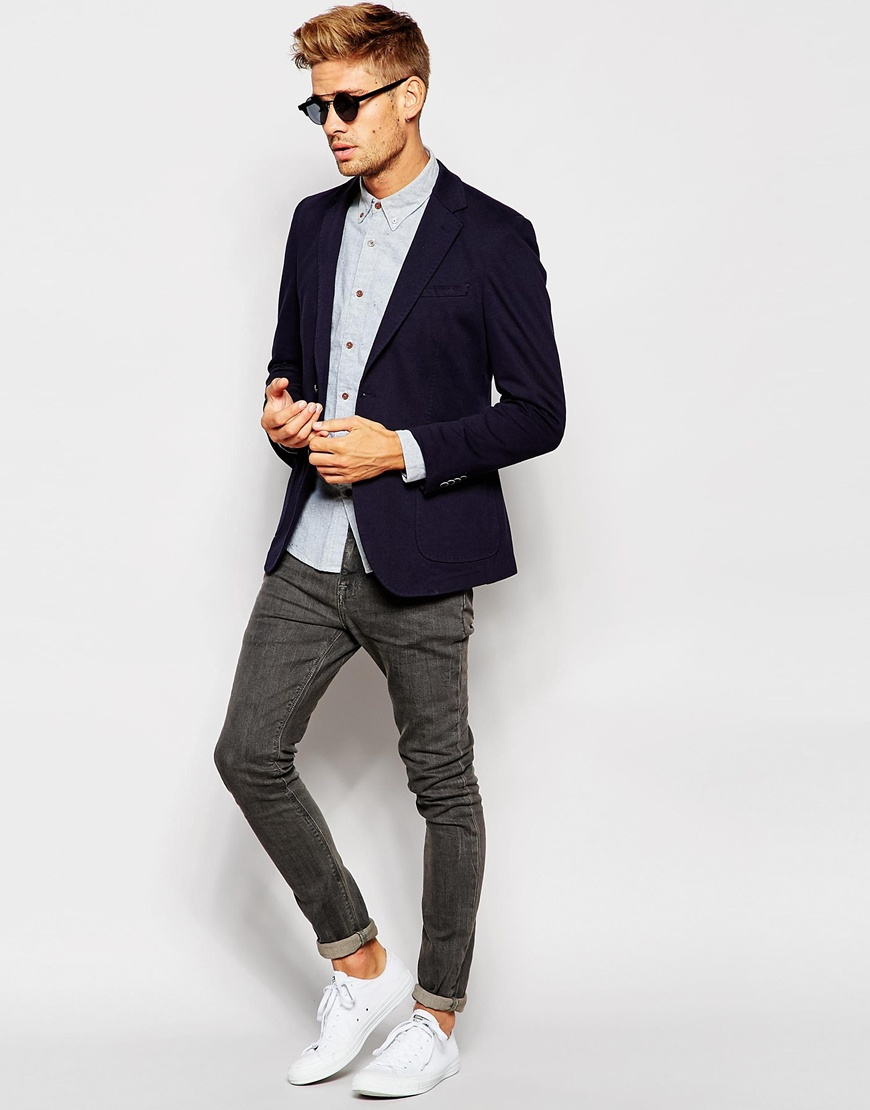 Esprit Jersey Blazer In Slim Fit in Blue for Men | Lyst