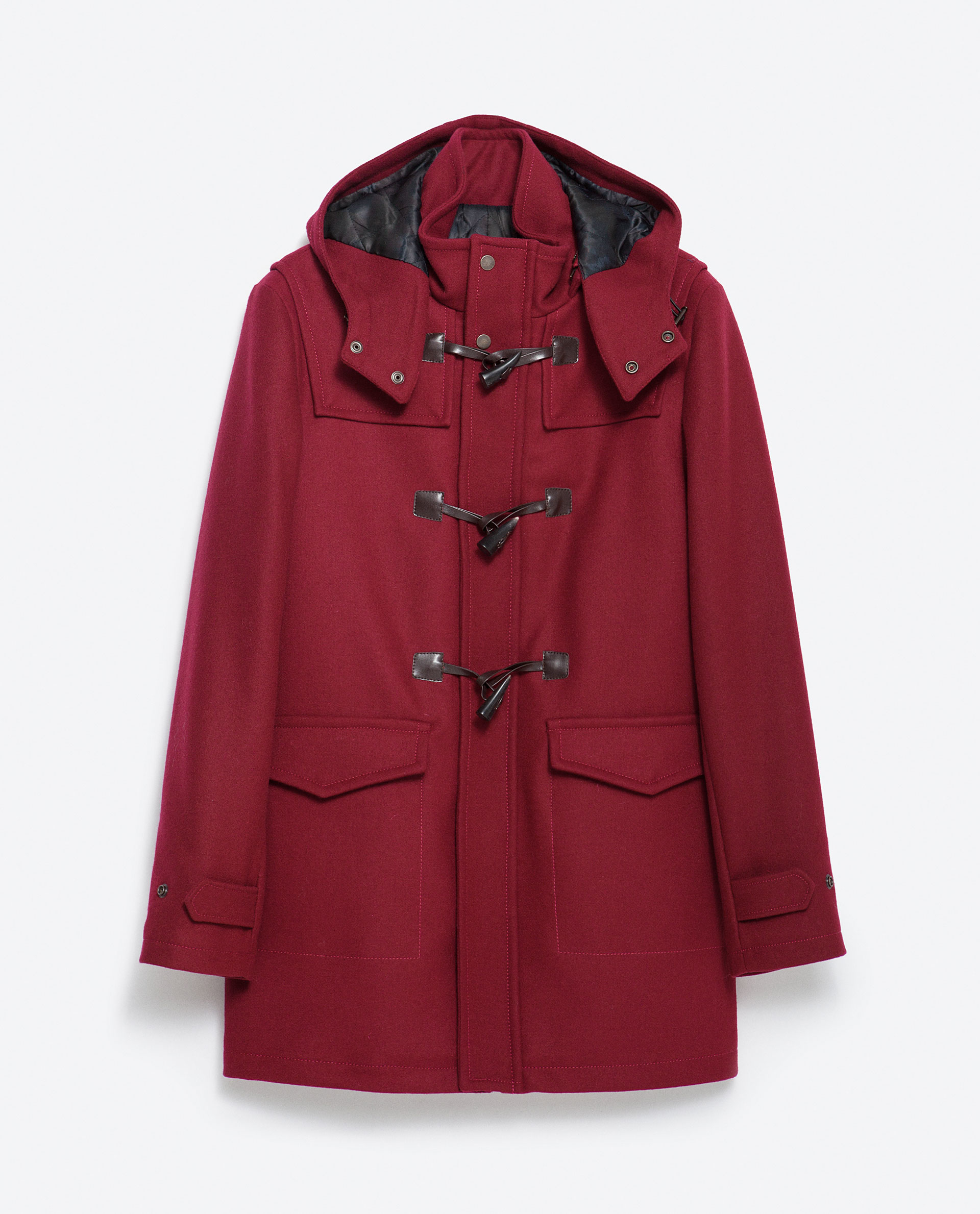 Zara Duffle-coat With Toggles in Purple for Men | Lyst