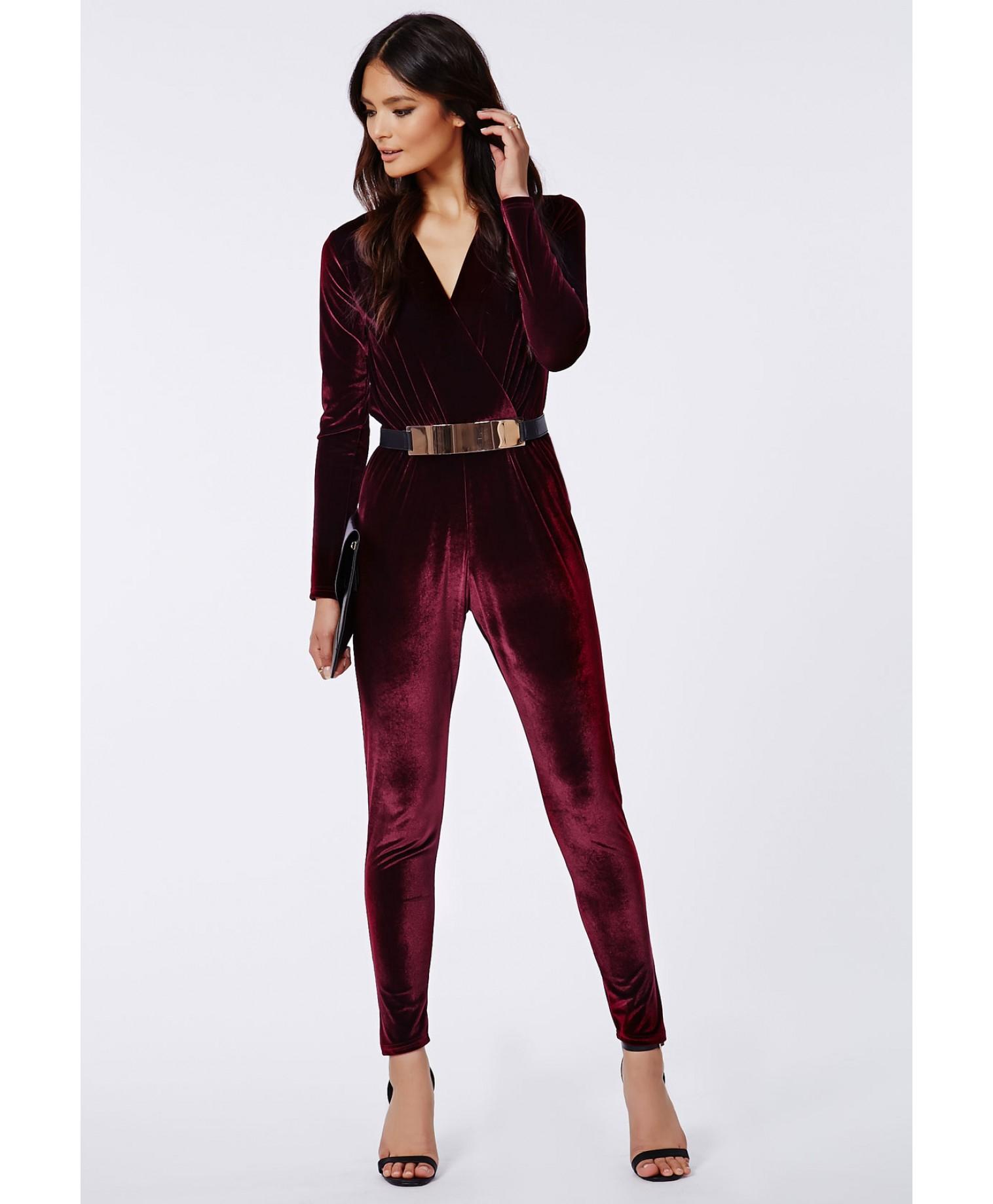 177193b3b37 Missguided Liz Luxe Velvet Wrap Jumpsuit Oxblood in Purple - Lyst