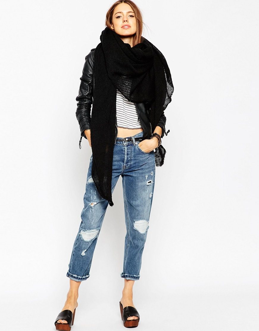 f181e7bb7 ASOS Oversized Knit Scarf in Black - Lyst