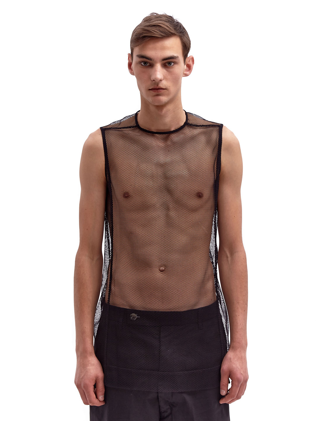 Rick owens Mens Sleeveless Mesh Tabard Top in Black for Men | Lyst