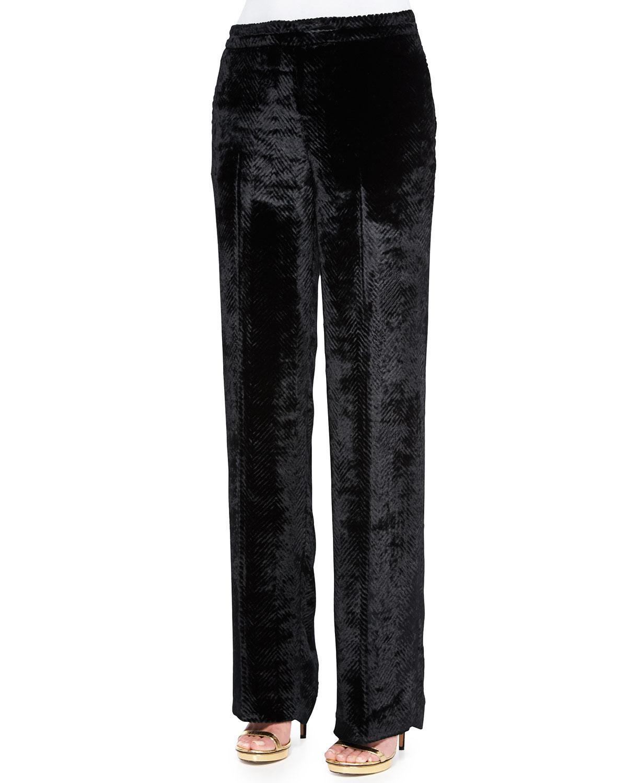 Lyst Etro Sheared Velvet Straight Leg Pants In Black