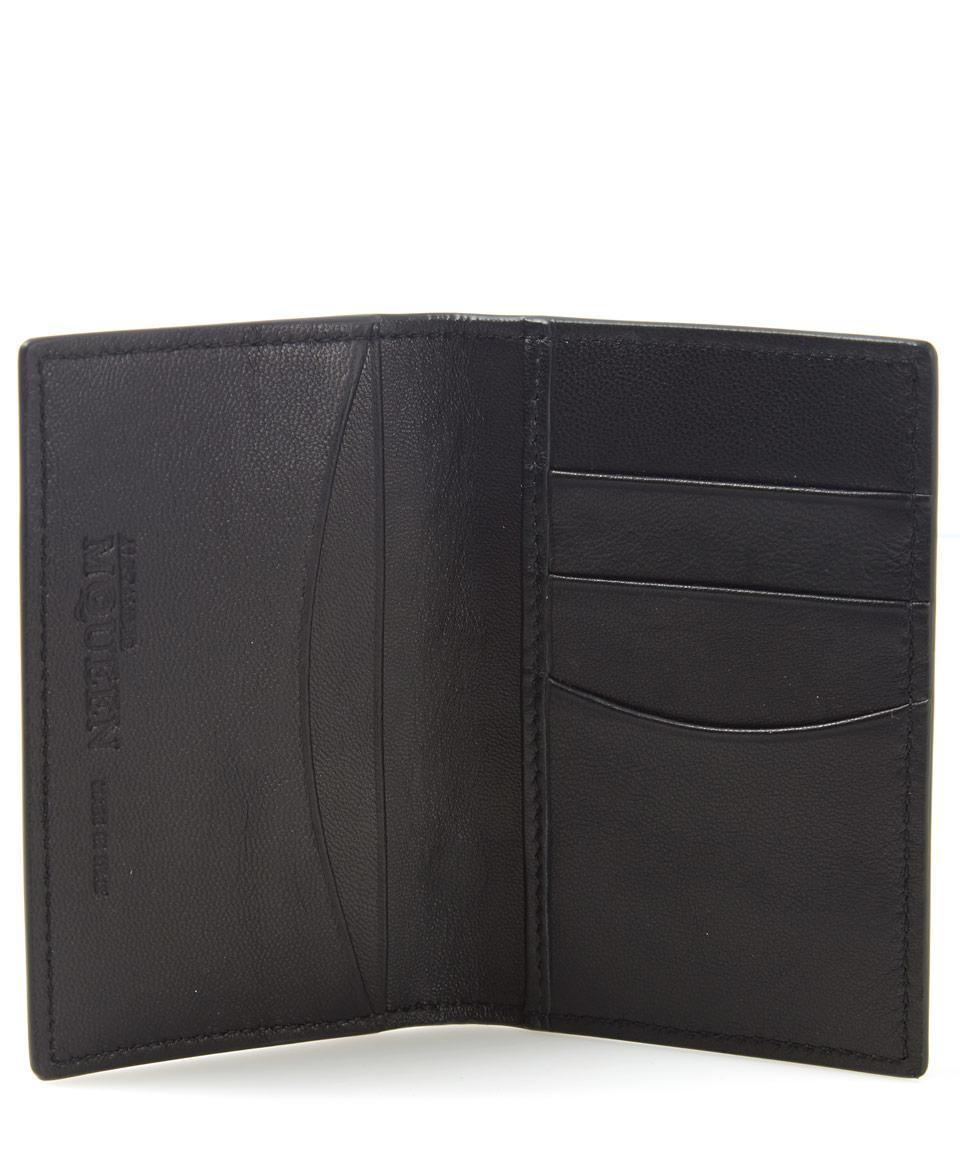 new concept ab1c1 ba458 McQ Black Rib Cage Bi-fold Leather Credit Card Holder for men