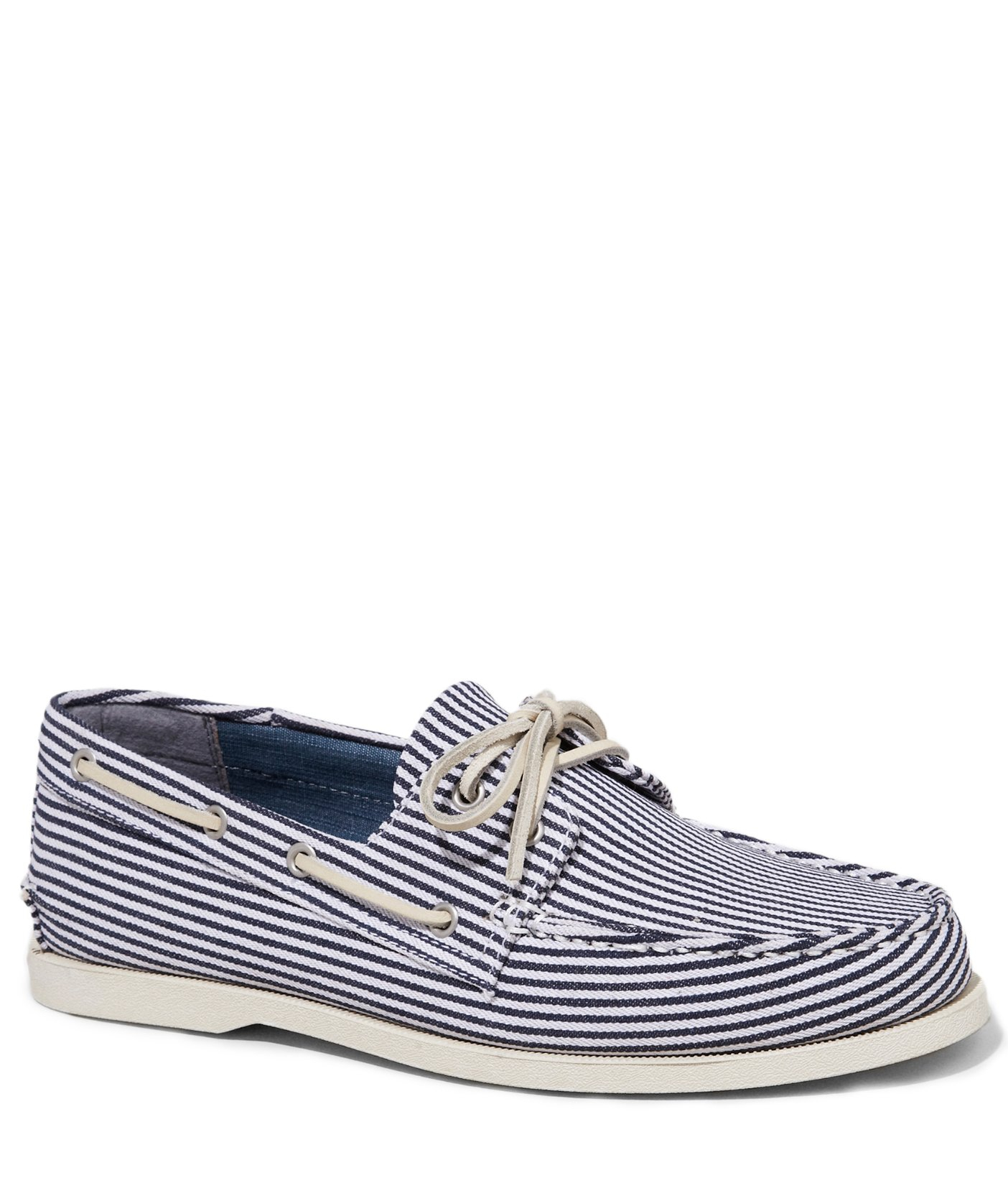 express striped canvas boat shoe in blue for lyst