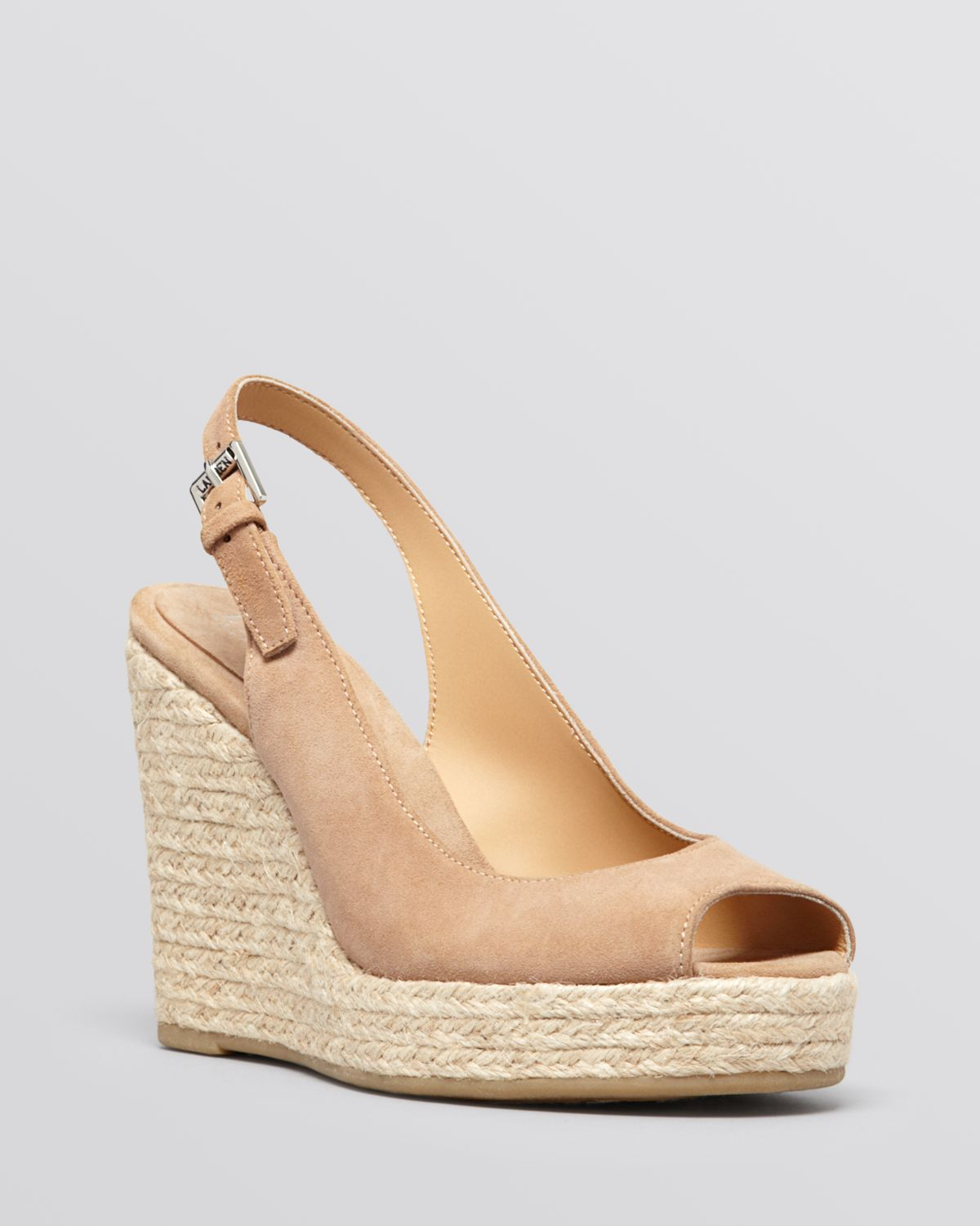 264bc2fddb7 Lauren by Ralph Lauren Natural Peep Toe Platform Wedge Espadrille Sandals  Susy