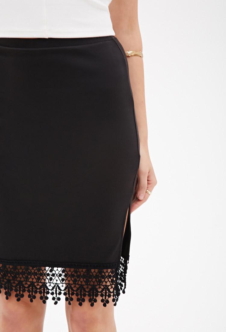 forever 21 crochet trimmed pencil skirt in black lyst