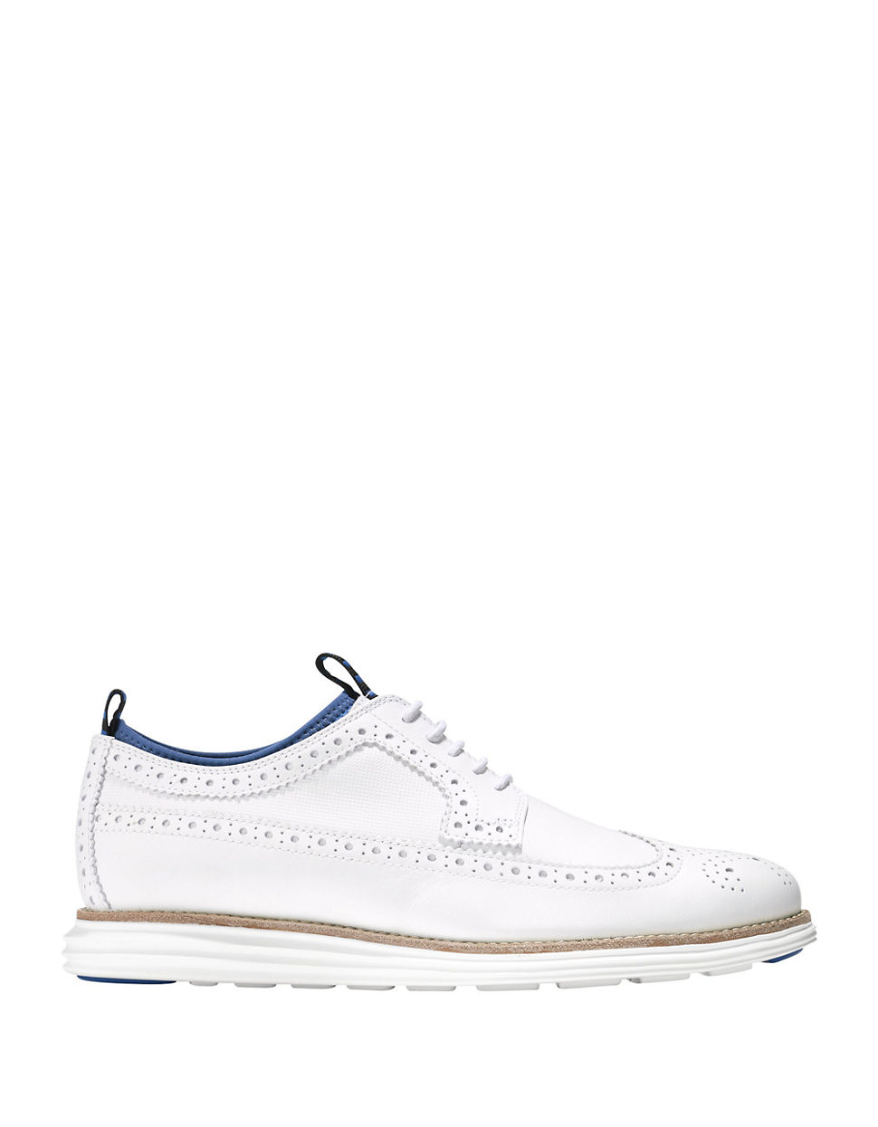 cole haan leather wingtip brogue oxfords in white for