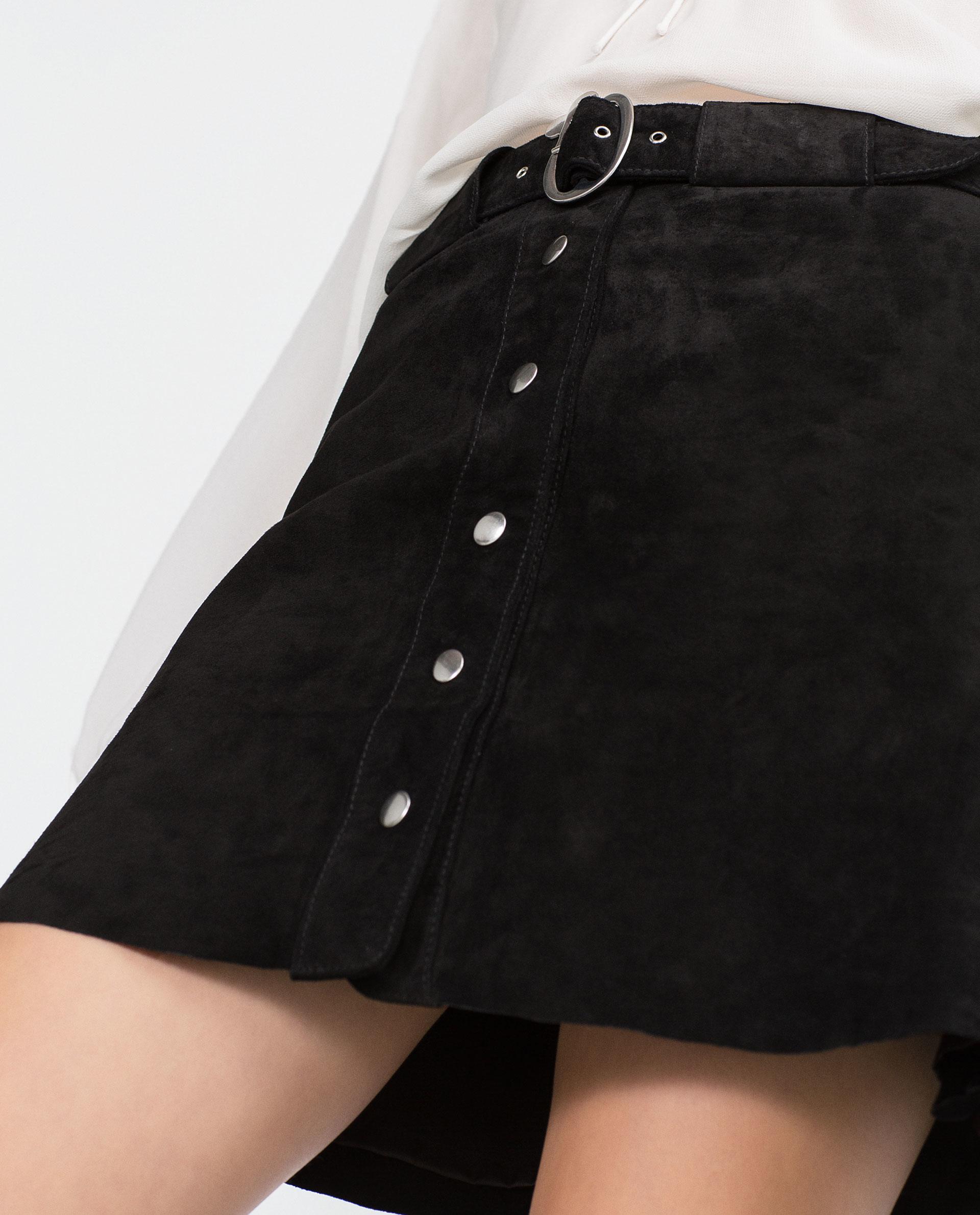zara leather skirt in black lyst