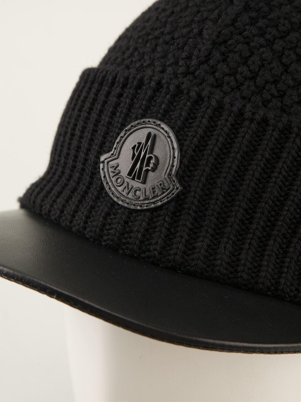 513b0e11a Lyst - Moncler Knitted Visor Hat in Black for Men