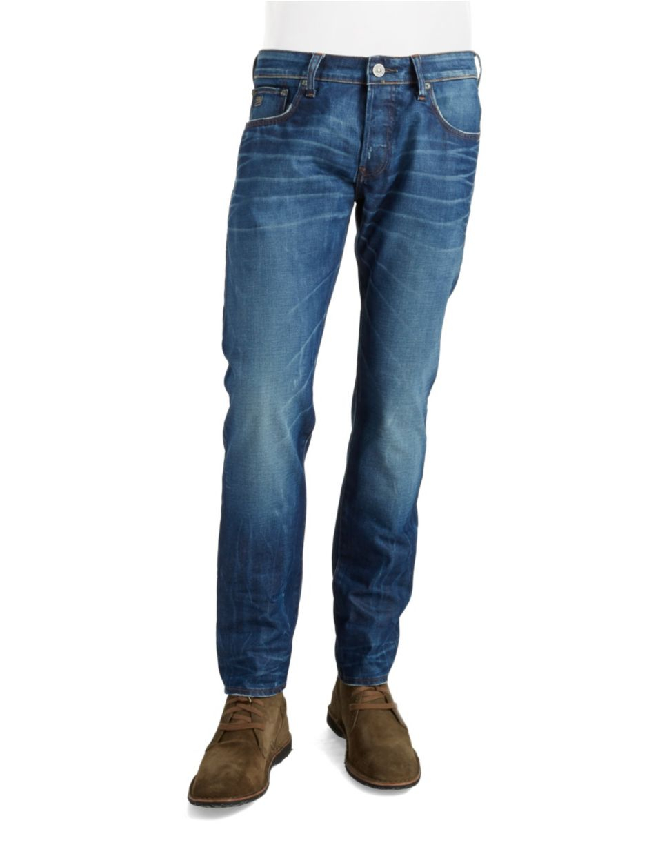 g star raw 3301 tapered fit jeans in blue for men lyst. Black Bedroom Furniture Sets. Home Design Ideas