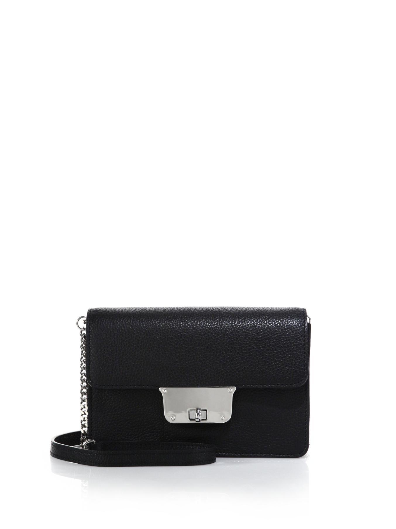 c3f8af7085 Lyst - MILLY Astor Mini Leather Crossbody Bag in Black