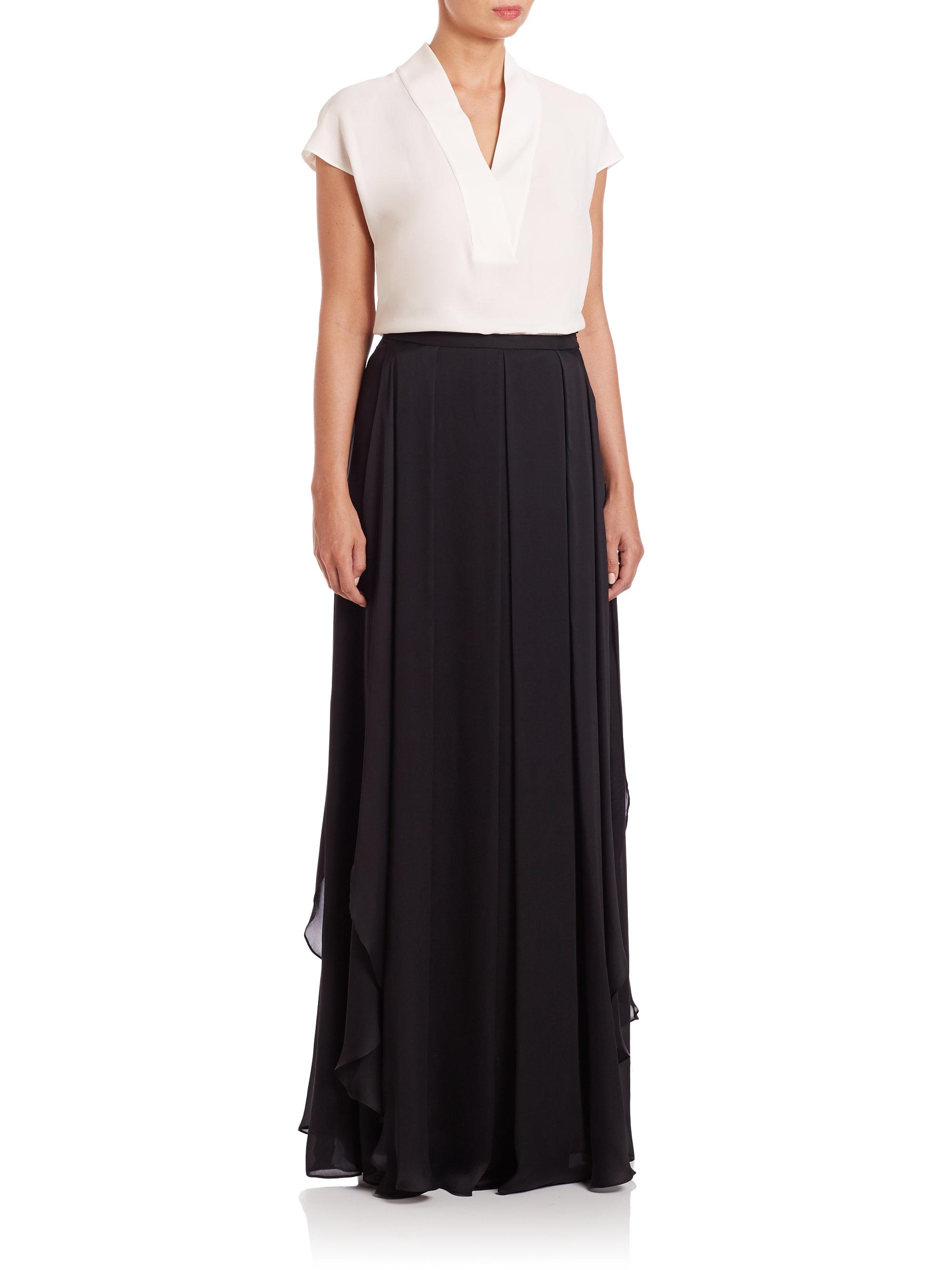 escada ruffled silk chiffon maxi skirt in black lyst