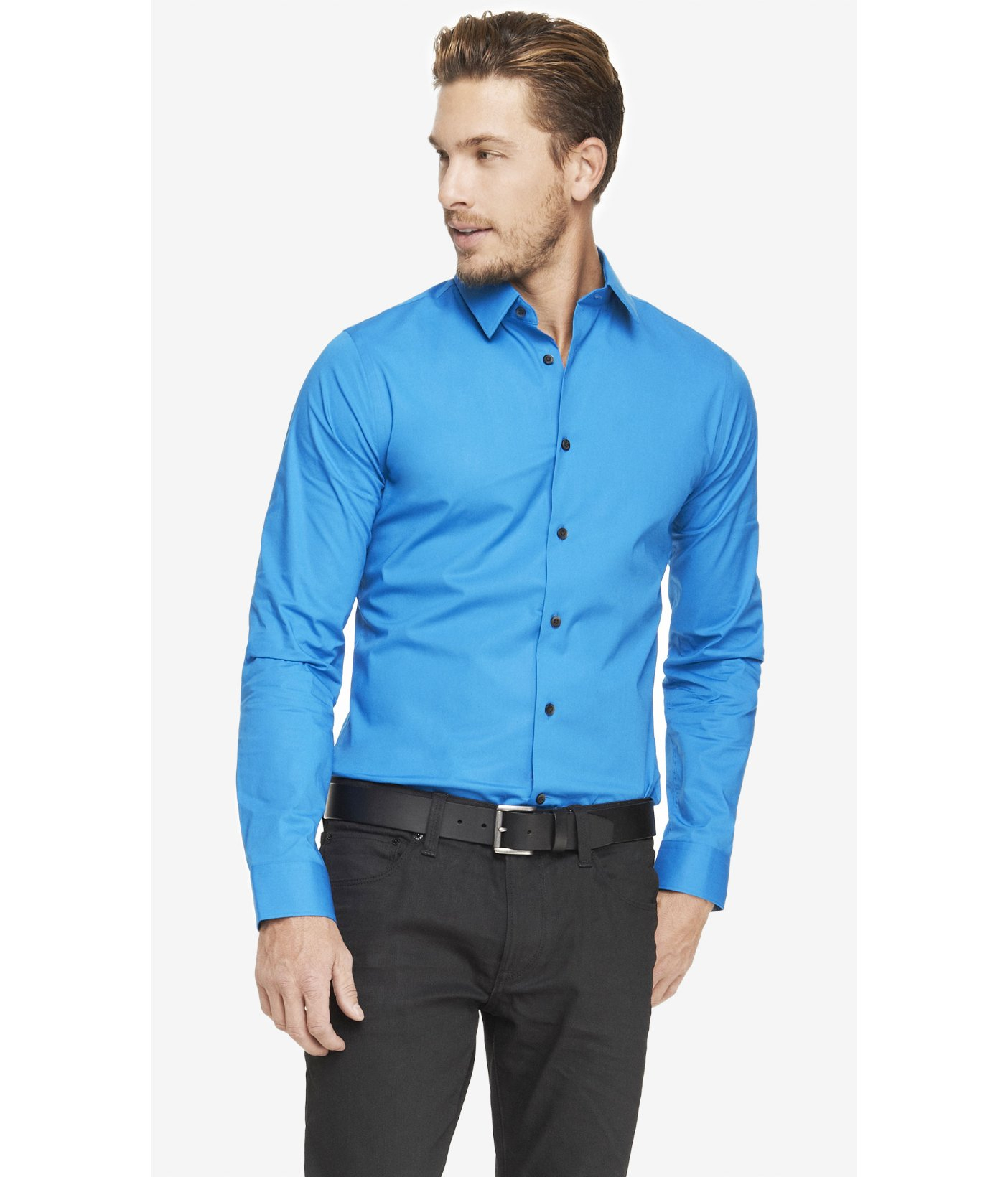 Express tall extra slim 1mx stretch cotton shirt in blue for Slim and tall shirts