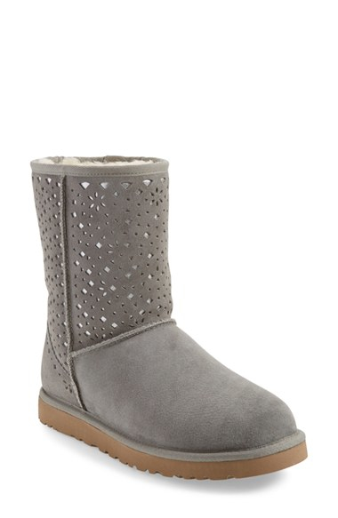 Lyst Ugg Classic Short Flora Boots In Gray