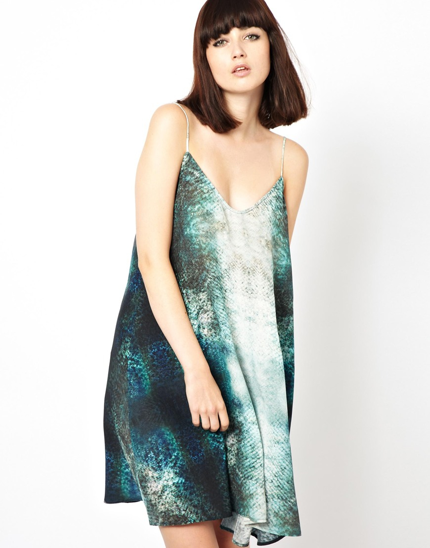 Markus lupfer tropical fish print flare silk dress in blue for Fish print dress