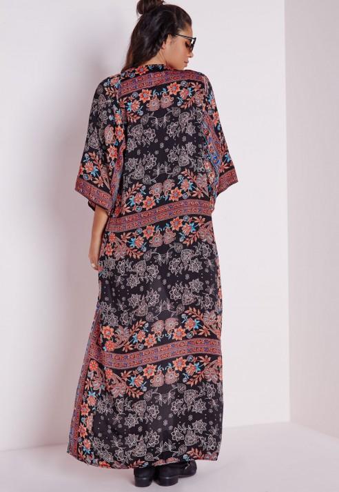 Missguided Paisley Silk Feel Maxi Kimono Red