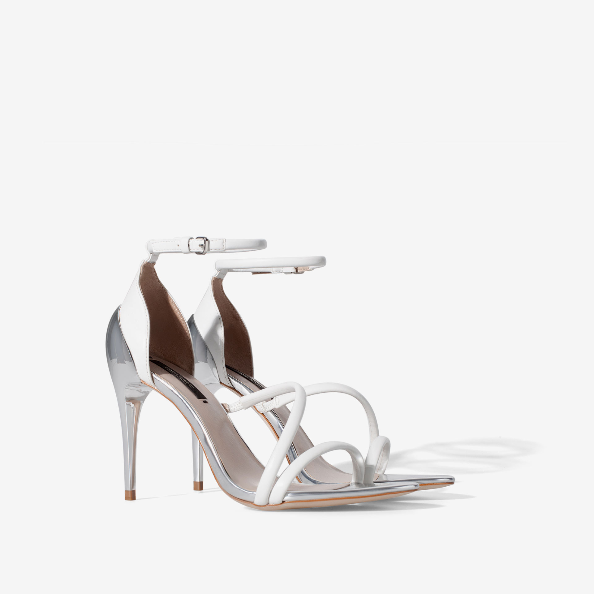 Zara High Heel Strappy Sandals in White | Lyst