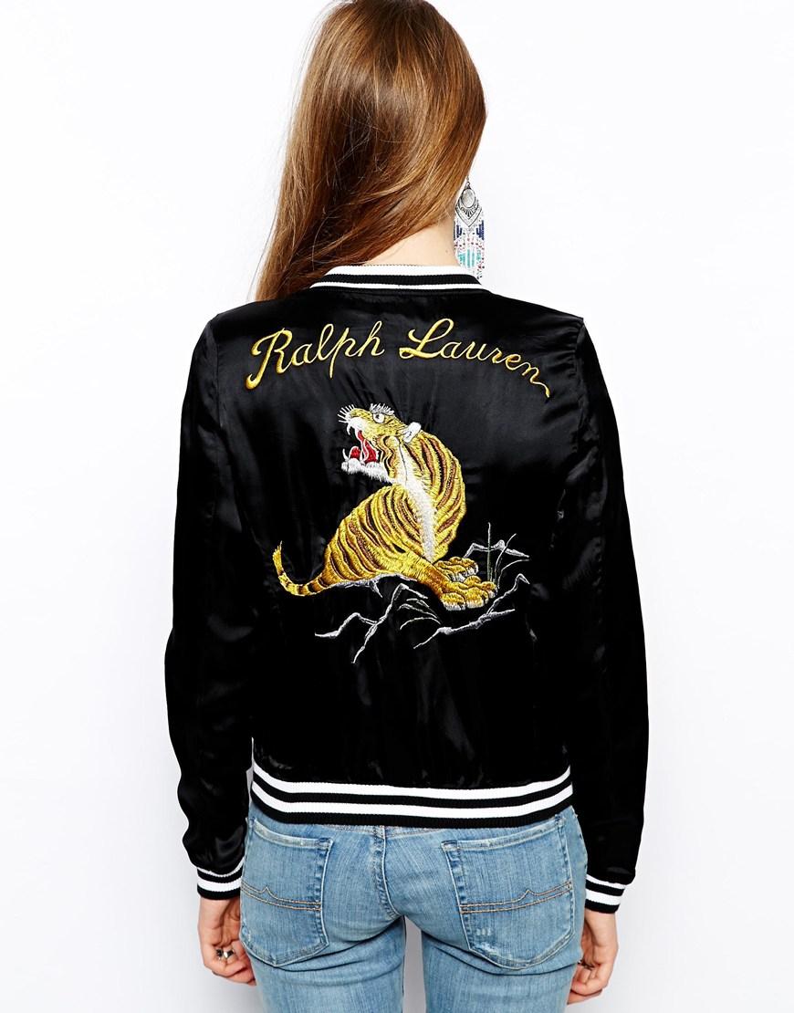 Ralph lauren Tiger Bomber Jacket in Black | Lyst