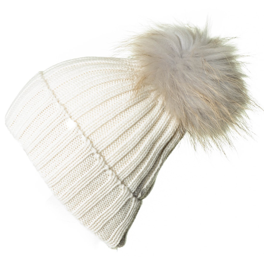 Lyst - Black.co.uk Cream Cashmere And Fur Pom Pom Beanie in Natural ... 01ec9287336