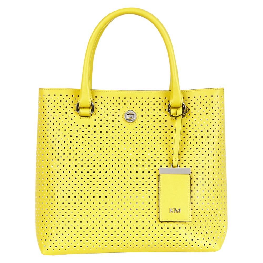 f7b85e1174a Karen Millen Perforated Small Tote Bag in Yellow - Lyst