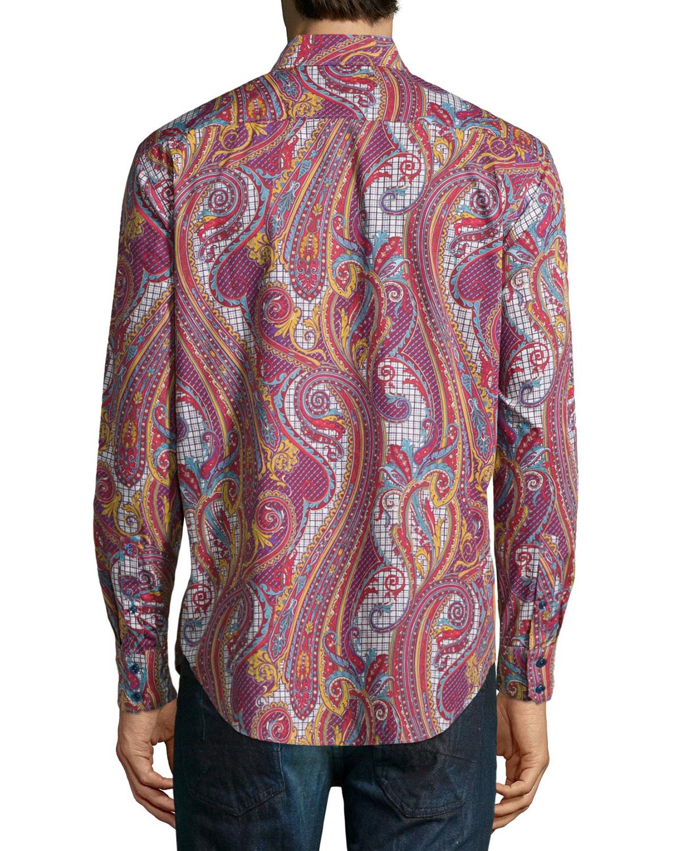 Lyst robert graham wine chestnuts paisley print sport for Robert graham sport shirt