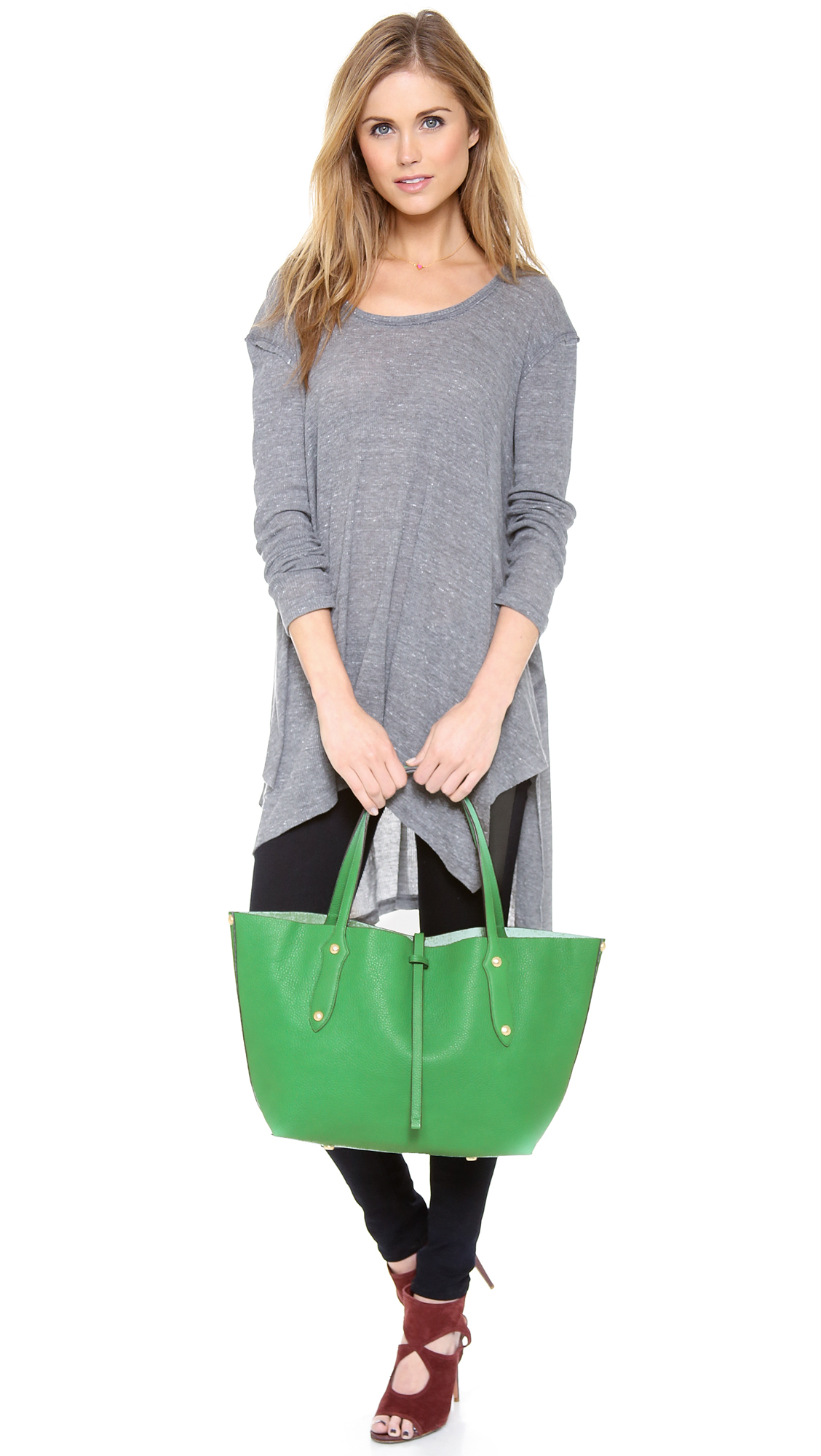 Lyst - Annabel Ingall Small Isabella Tote - Honey in Green a5c53fc80e7e5