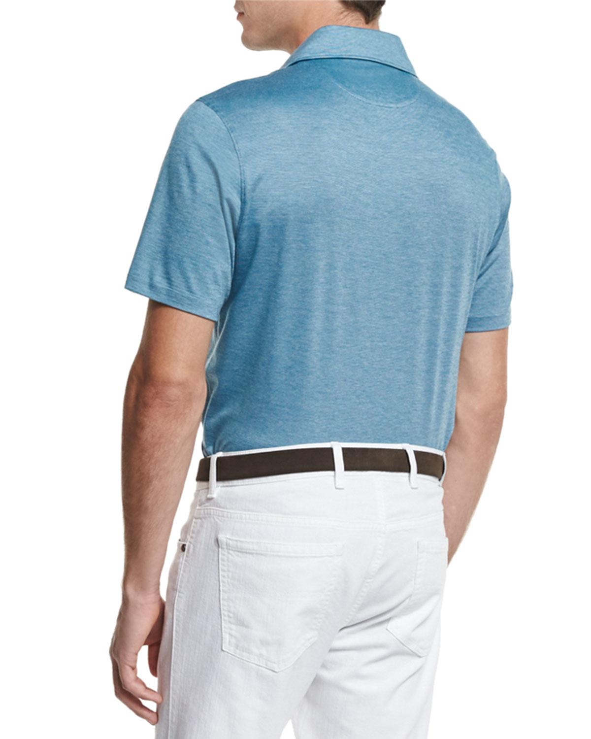 Ermenegildo zegna stretch cotton polo shirt in blue for for Stretch polo shirt mens