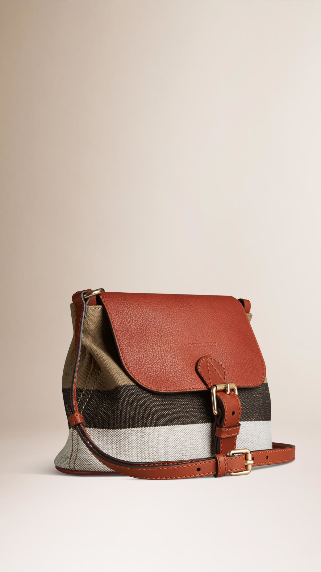 Lyst - Burberry Small Canvas Check And Leather Crossbody Bag in Brown c92fd7181b