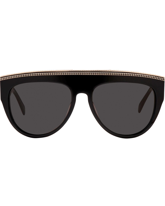 Balmain Studio Aviator Sunglasses  balmain oversized plastic chain rim aviator sunglasses in black lyst