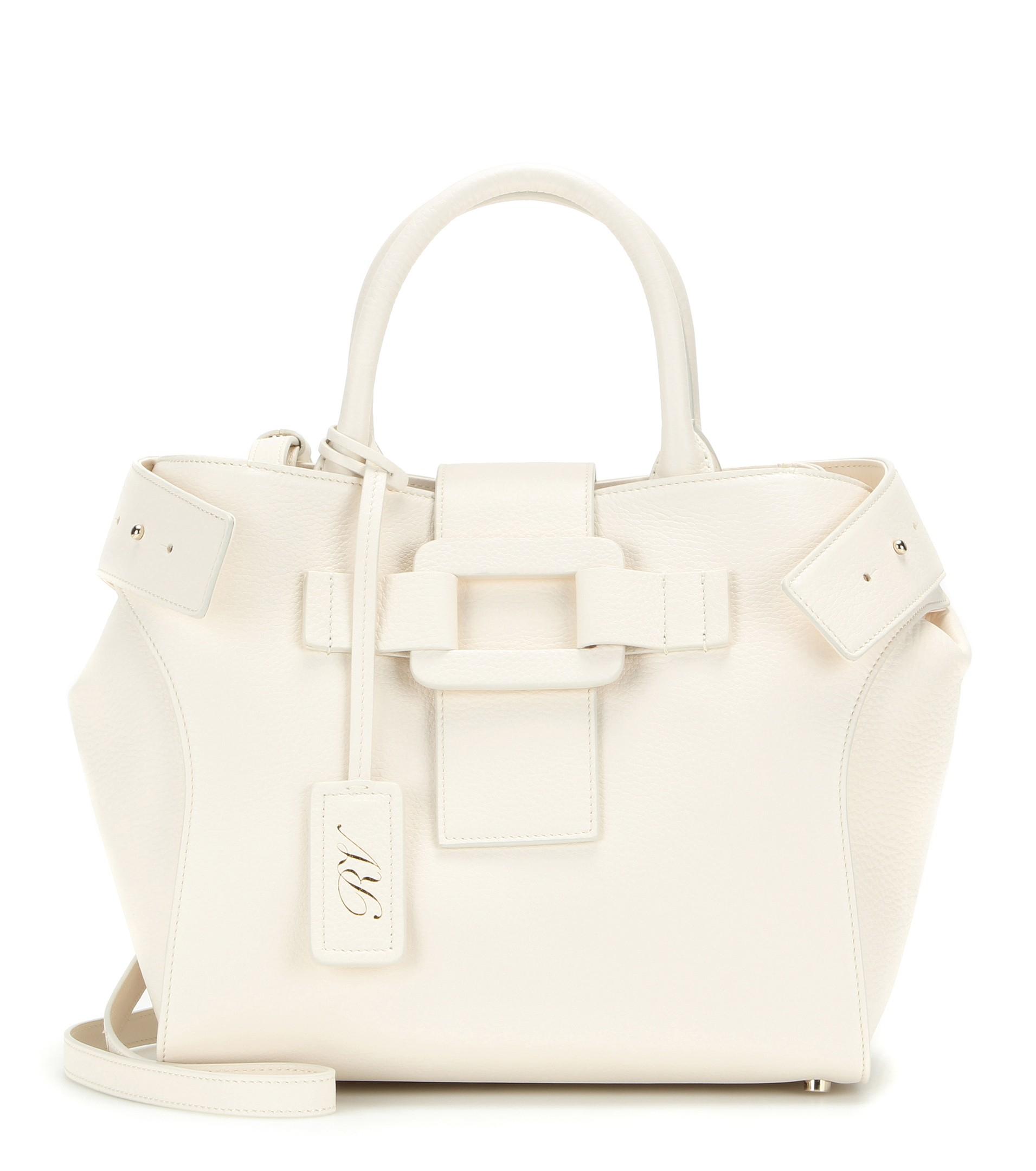 Lyst - Roger Vivier Pilgrim De Jour Small Leather Shoulder Bag in White 84da141550cda