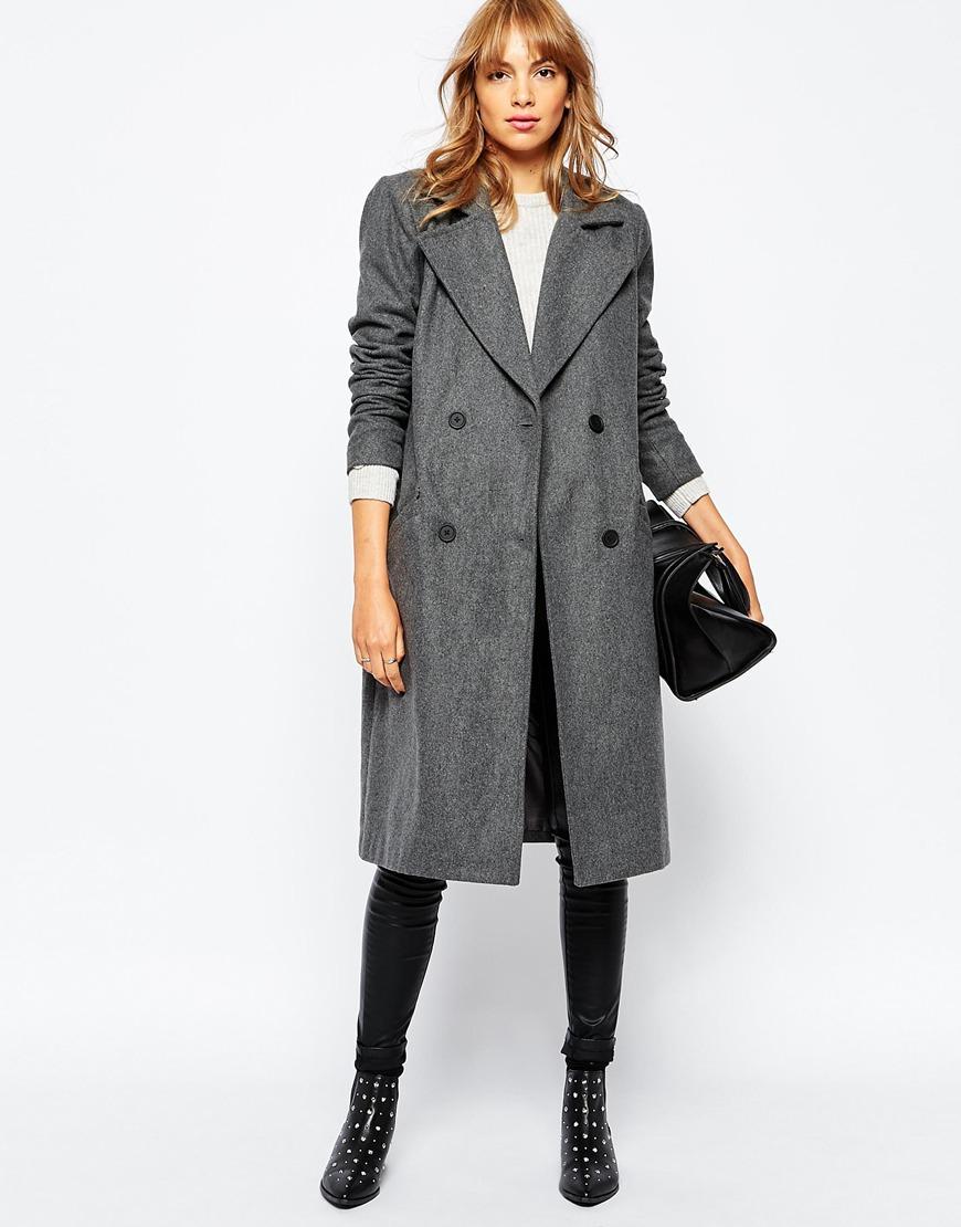 Vila Car Coat in Gray | Lyst