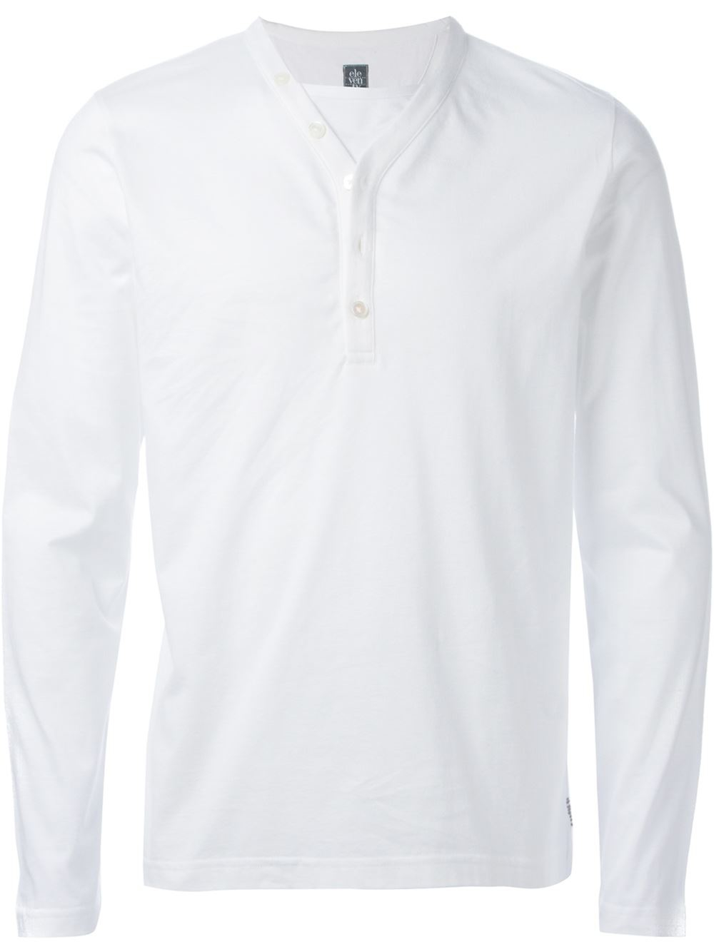 Eleventy long sleeve henley t shirt in white for men lyst Mens long sleeve white t shirt