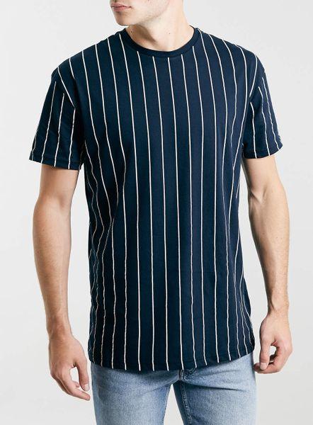 Topman Navy Vertical Stripe Skater T-Shirt in Blue for Men ...