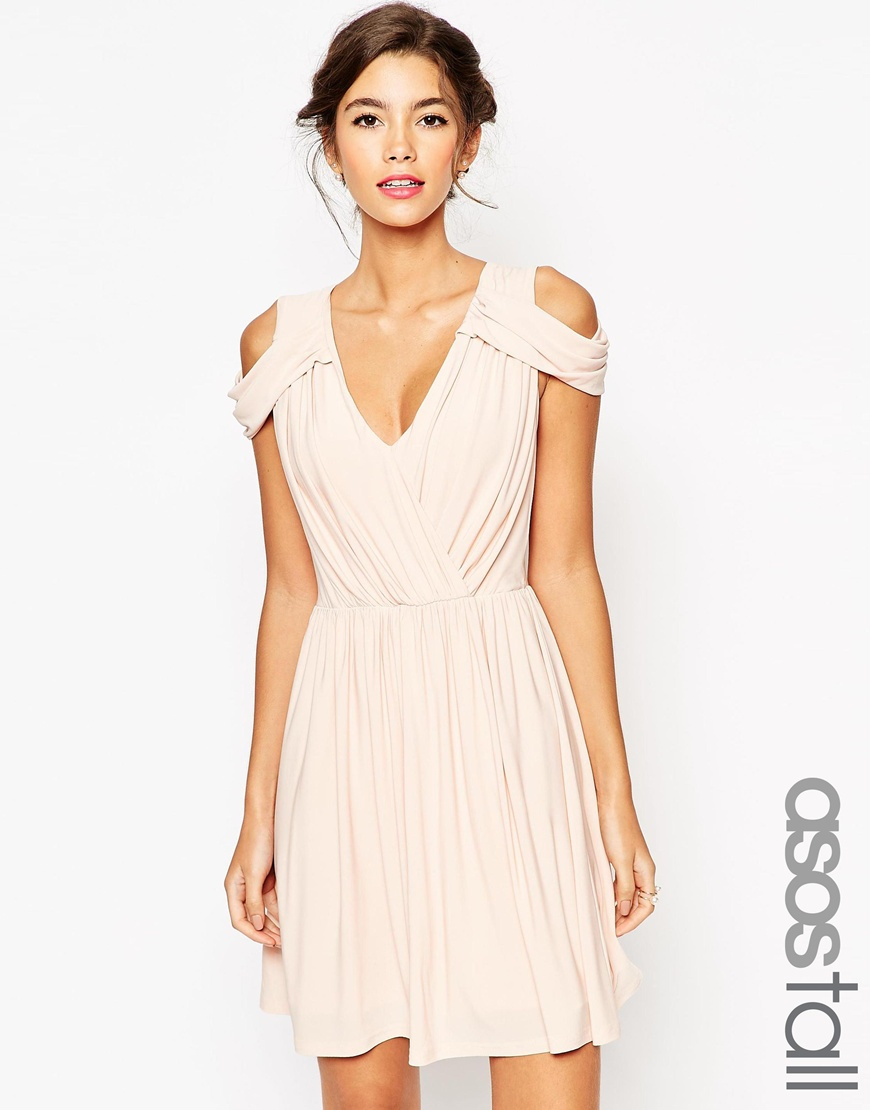 asos wedding drape cold shoulder mini dress in natural lyst