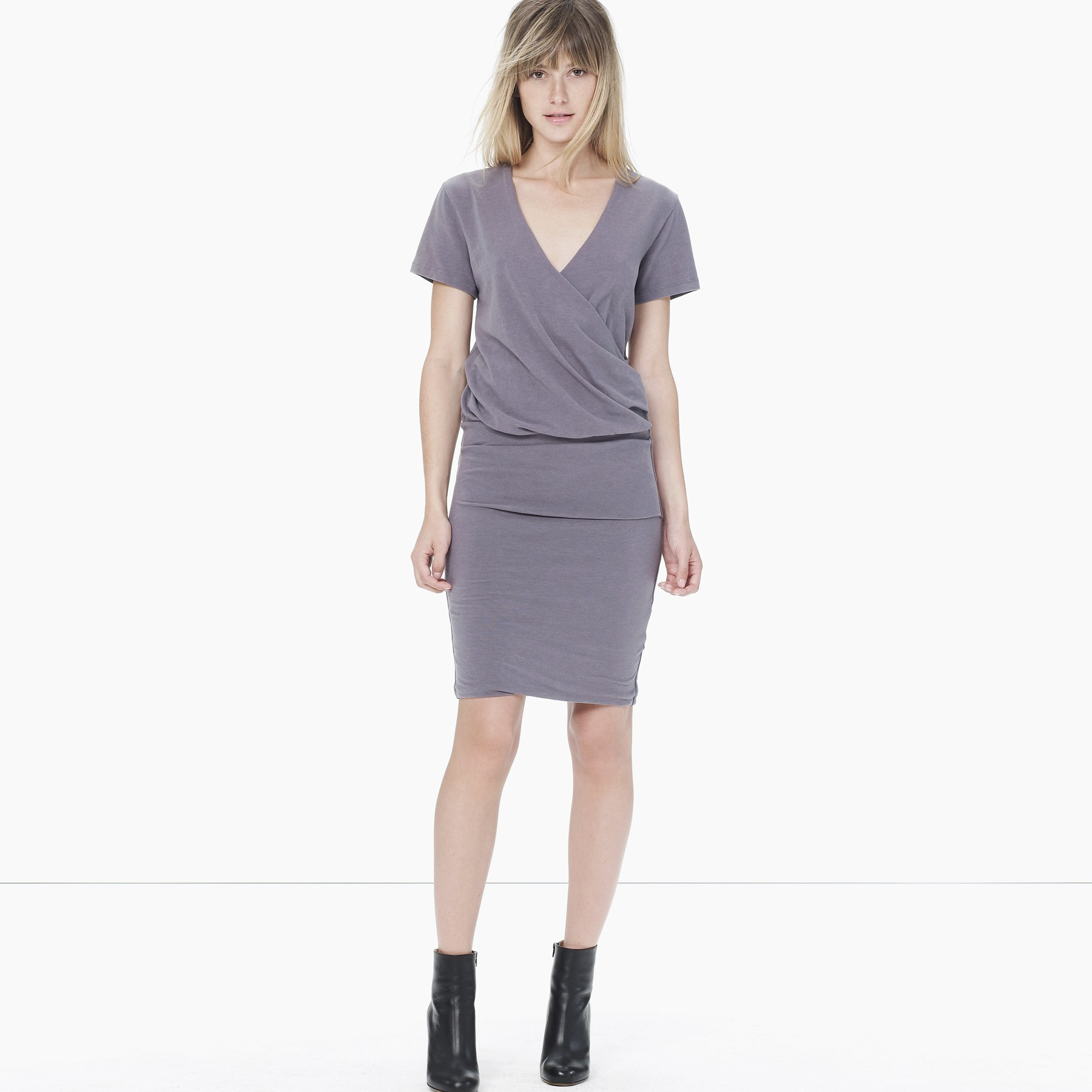 1ade2ff512a James Perse Sueded Stretch Jersey Wrap Dress in Gray - Lyst