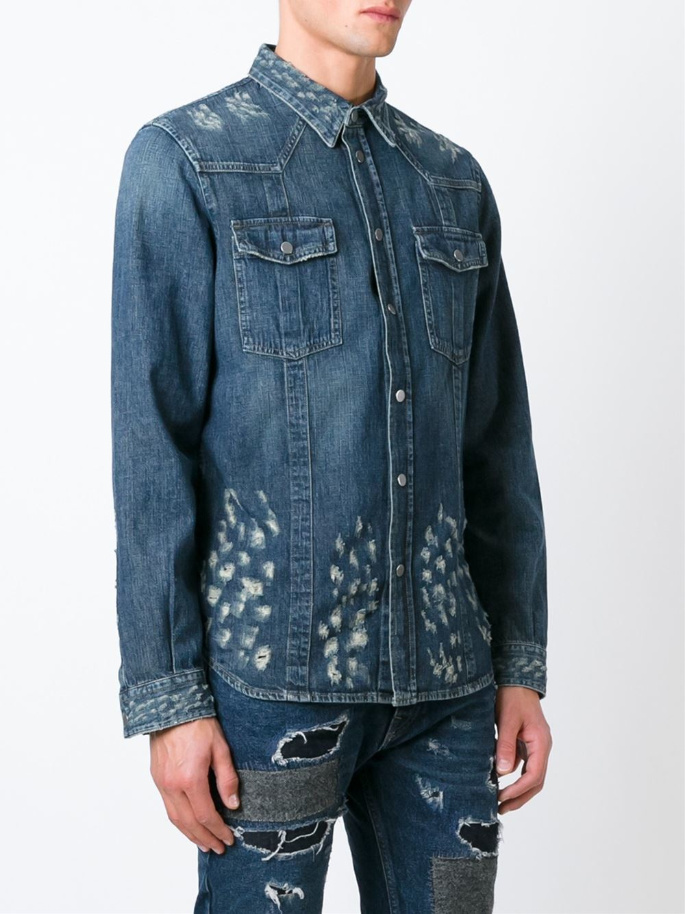Lyst diesel black gold distressed denim shirt in blue Black shirt blue jeans