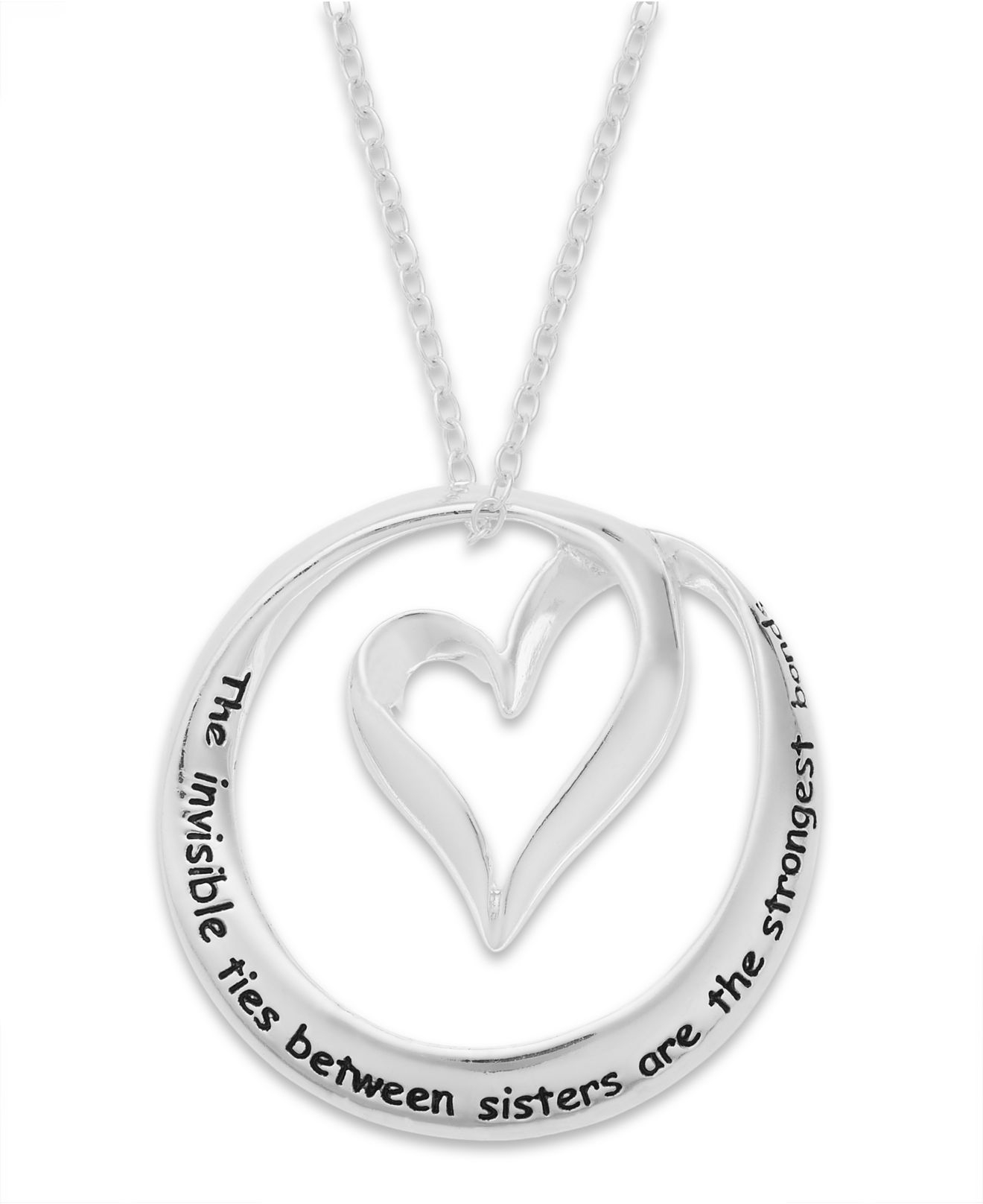 Lyst - Macy'S Inspirational Sister Heart Pendant Necklace ...