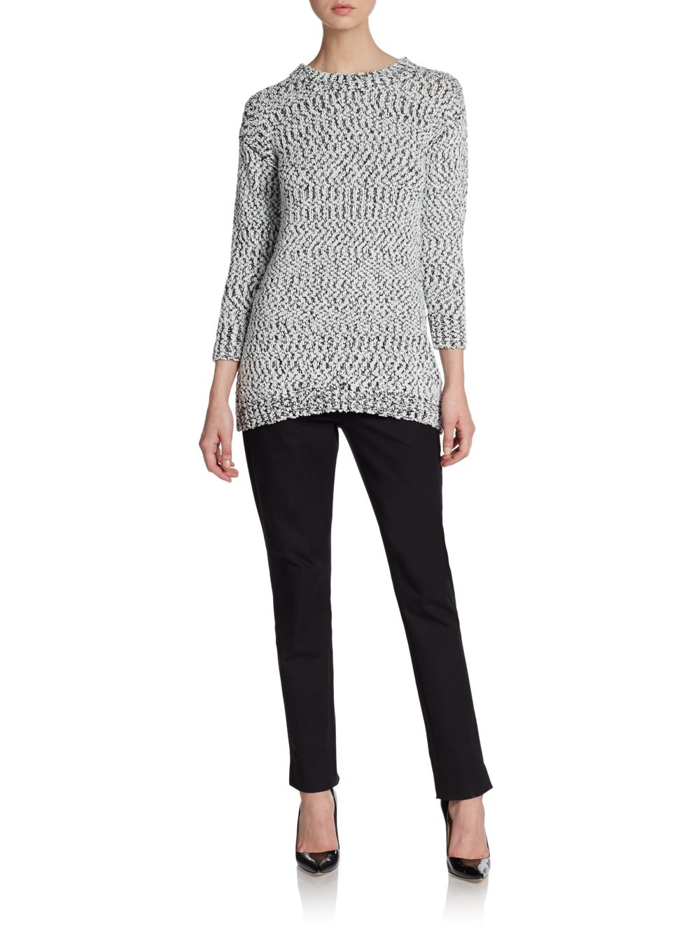 Saks fifth avenue Tweed-texture Knit Sweater in White