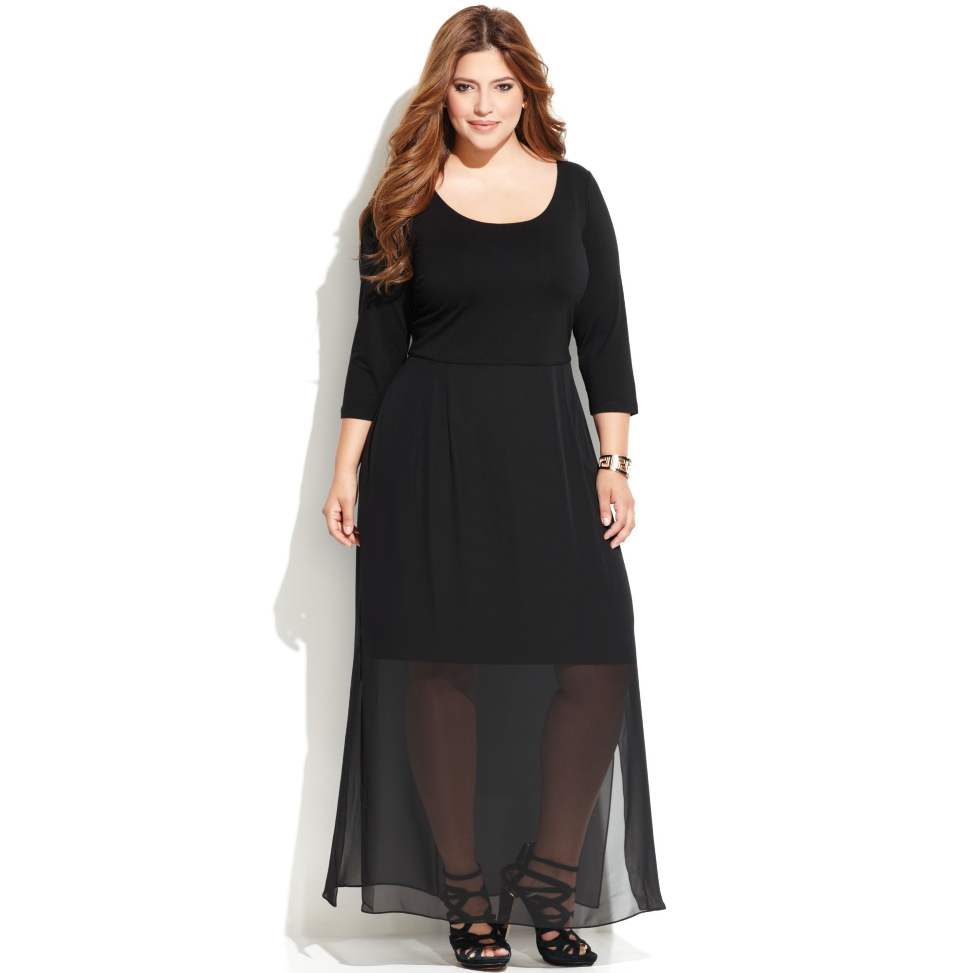 Plus Size Chiffonoverlay Maxi Dress