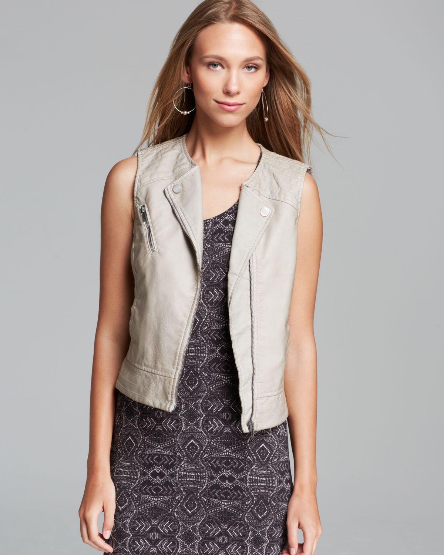 Sanctuary Mel Faux Leather Vest In Natural Lyst