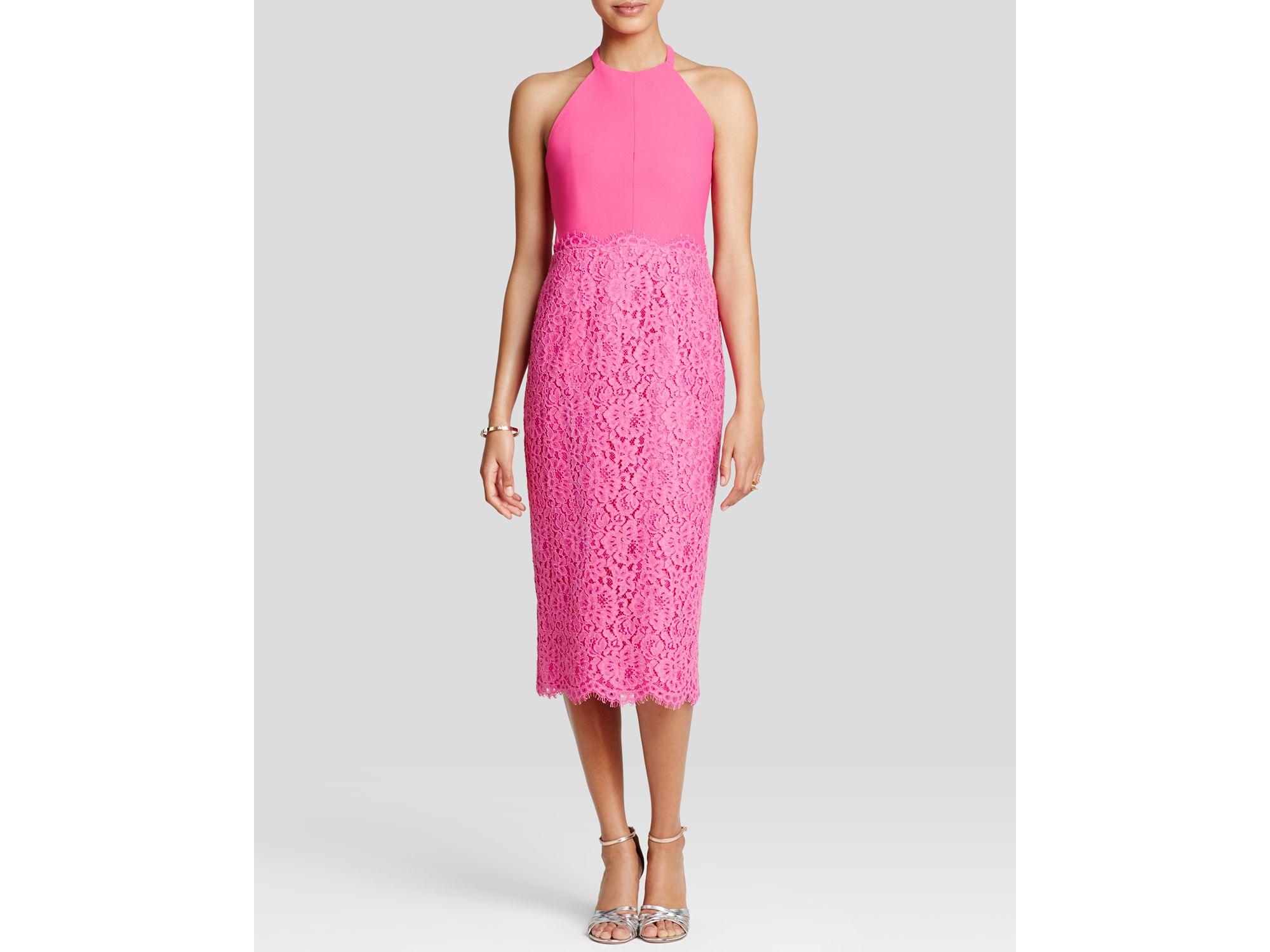 Shoshanna Dress - Uma Lace Midi in Pink   Lyst