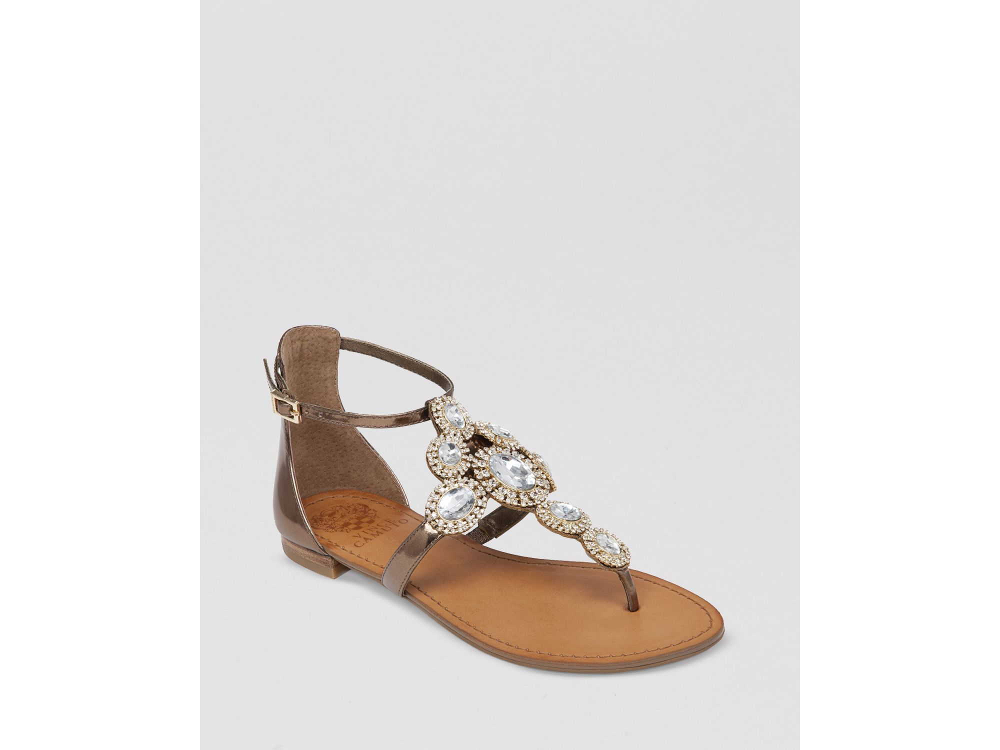 213ea8ca6 Lyst - Vince Camuto Jeweled Thong Flat Sandals - Manelle in Metallic